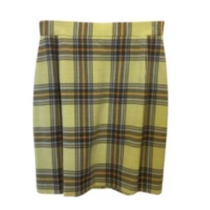 Escada Light Green Plaid Skirt 10 M Medium